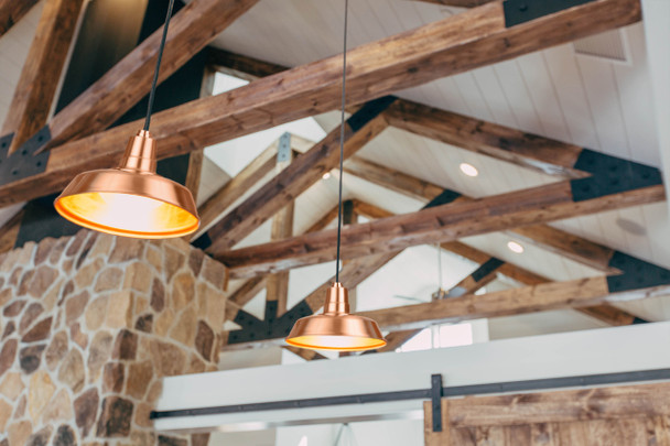 """Lifestyle View of 12"""" Oldage LED Pendant Light in Solid Cooper"""