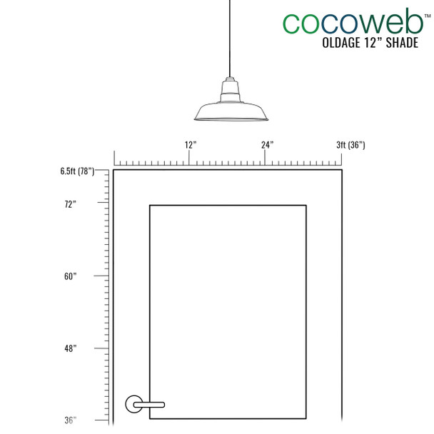 """Door Dimensions for ideal placement of 12"""" Oldage LED Pendant Light in Solid Cooper"""