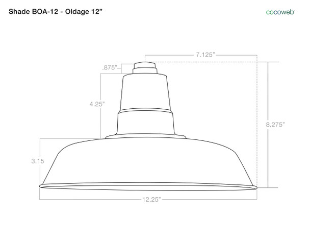 """Shade Dimensions for 12"""" Oldage LED Pendant Light in Solid Cooper"""