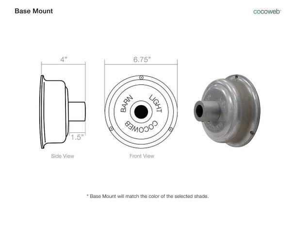 """Base Mount for 12"""" Oldage LED Pendant Light in Matte Black"""