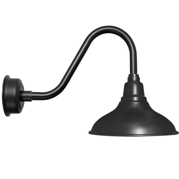 "12"" Dahlia LED Barn Light with Rustic Arm in Matte Black"