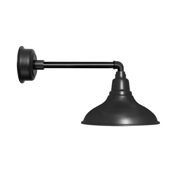 "12"" Dahlia LED Barn Light with Metropolitan Arm in Matte Black"