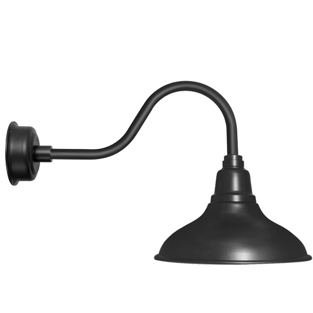 "12"" Dahlia LED Barn Light with Contemporary Arm in Matte Black"
