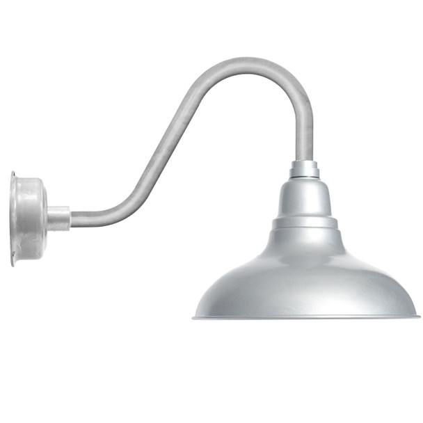 """12"""" Dahlia LED Barn Light with Rustic Arm in Galvanized Silver"""