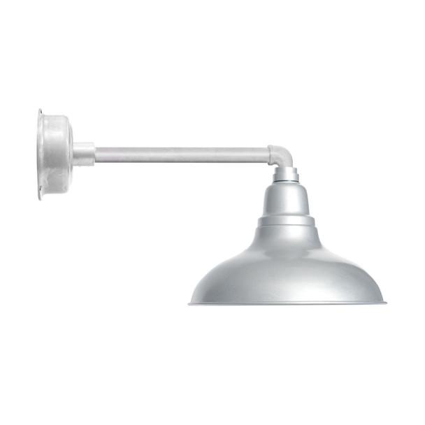 "12"" Dahlia LED Barn Light with Metropolitan Arm in Galvanized Silver"