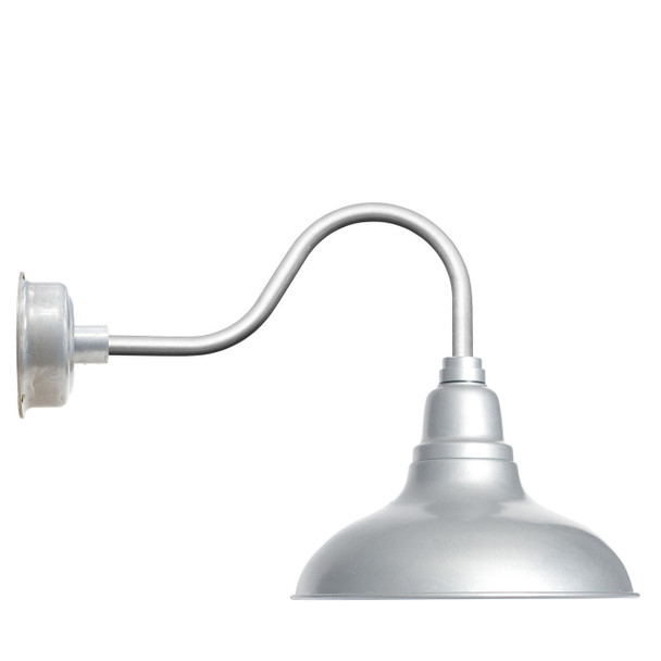 """12"""" Dahlia LED Barn Light with Contemporary Arm in Galvanized Silver"""