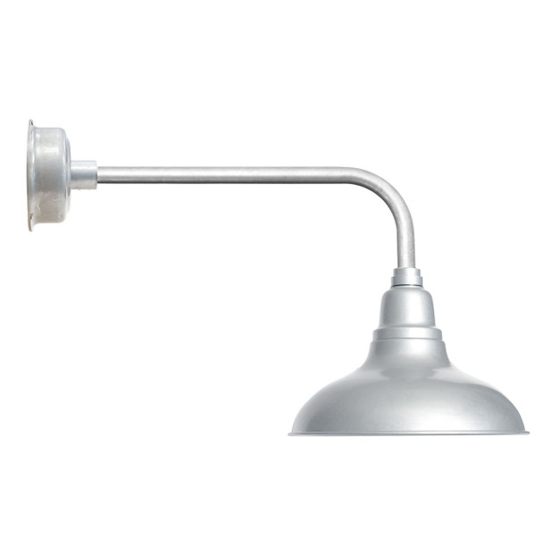 """12"""" Dahlia LED Barn Light with Traditional Arm in Galvanized Silver"""