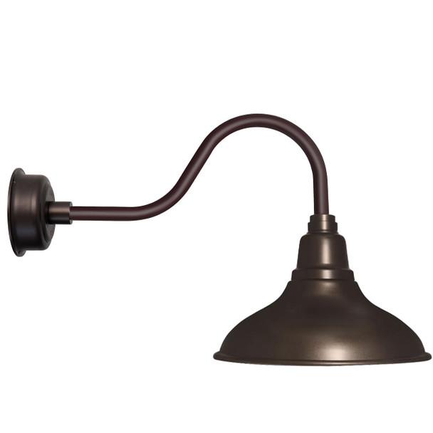 """12"""" Dahlia LED Barn Light with Contemporary Arm in Mahogany Bronze"""