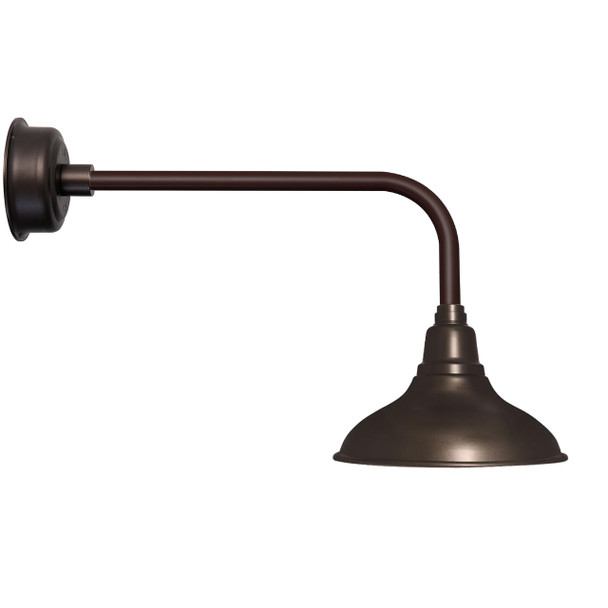 "12"" Dahlia LED Barn Light with Traditional Arm in Mahogany Bronze"