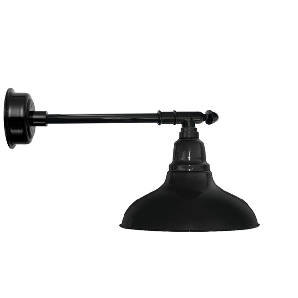 "8"" Dahlia LED Barn Light with Victorian Arm in Black"