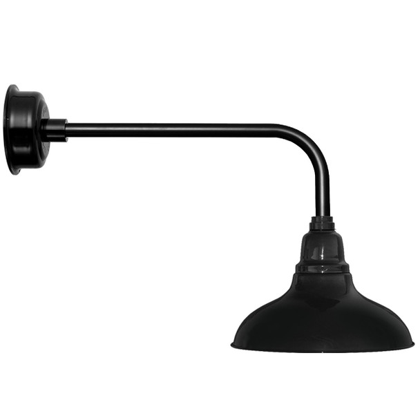 "8"" Dahlia LED Barn Light with Traditional Arm in Black"