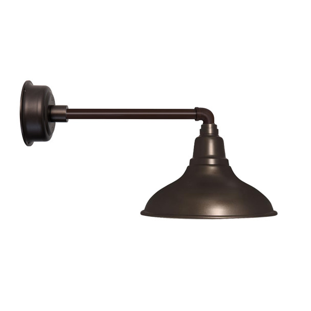 "8"" Dahlia LED Barn Light with Metropolitan Arm in Mahogany Bronze"