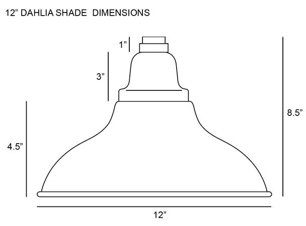 "12"" Dahlia LED Pendant Barn Light in Black with Mahogany Bronze Downrod"