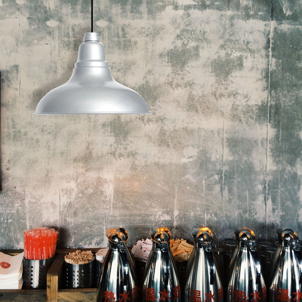 Galvanized Silver Dahlia LED Barn Pendant Light Lifestyle