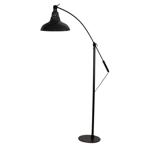 "Front View of 8"" Dahlia LED Farmhouse Floor Lamp- Black"