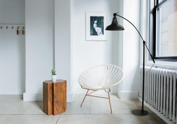"Lifestyle View of 8"" Dahlia LED Farmhouse Floor Lamp- Black"