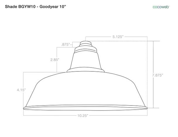 "Shade Dimensions for 10"" Goodyear Adjustable Floor Lamp - Black"