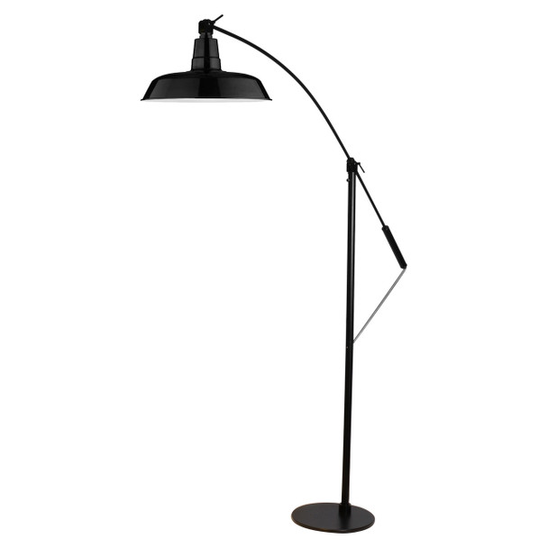 """Front View of 12"""" Oldage LED Floor Lamp- Black"""