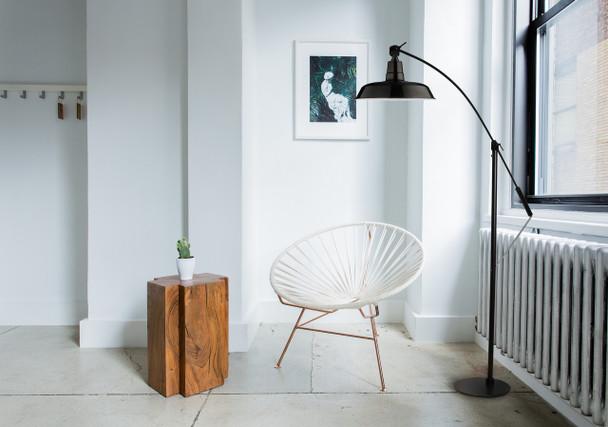 "Lifestyle View of 12"" Oldage LED Floor Lamp- Black"