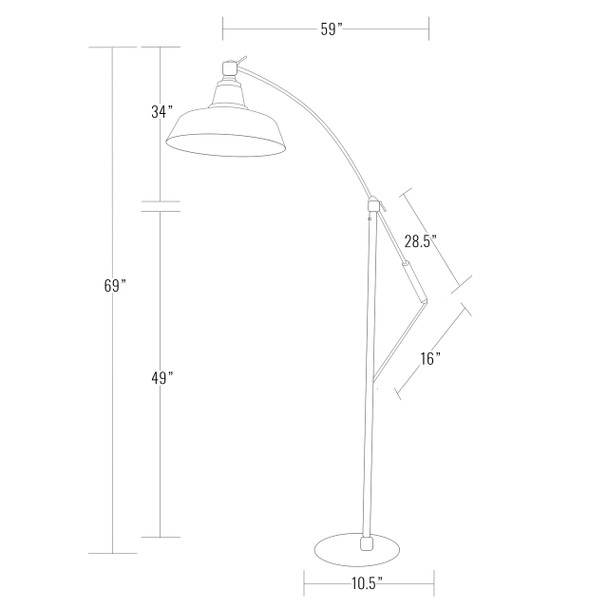"Dimensions of 12"" Goodyear Adjustable Floor Lamp - Black"
