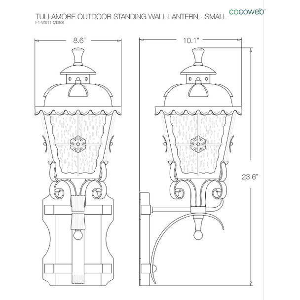 Tullamore Outdoor LED Standing Wall Lantern - Small