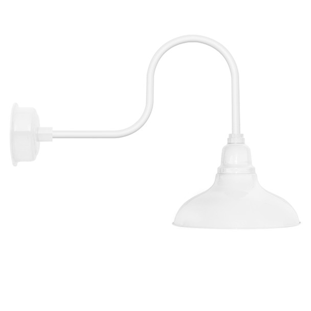 """12"""" Dahlia LED Barn Light with Industrial Arm in White"""