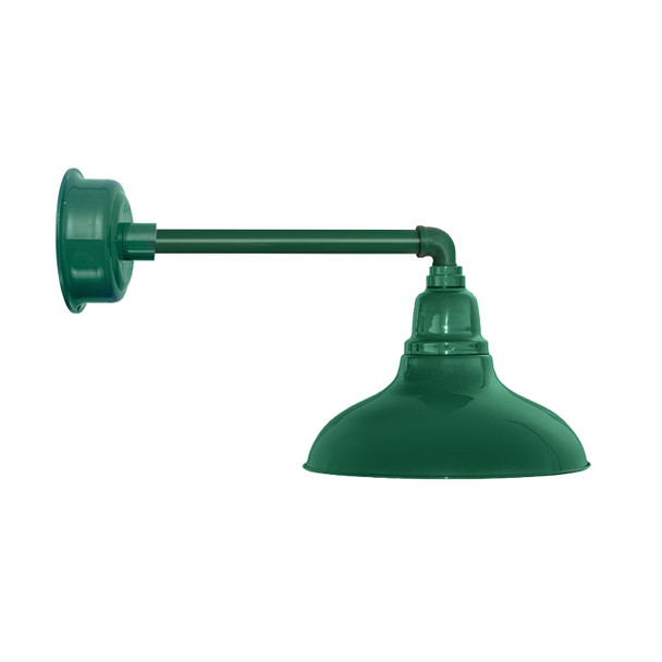 "12"" Dahlia LED Barn Light with Metropolitan Arm in Vintage Green"