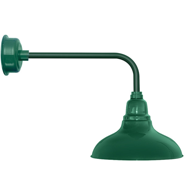 "12"" Dahlia LED Barn Light with Traditional Arm in Vintage Green"