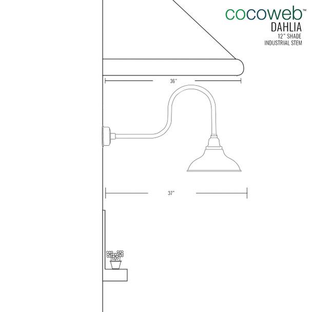 "12"" Dahlia LED Barn Light with Industrial Arm in Cobalt Blue"