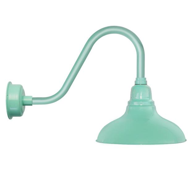"8"" Dahlia LED Barn Light with Rustic Arm in Jade"