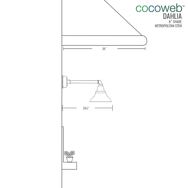 "8"" Dahlia LED Barn Light with Metropolitan Arm in Jade"