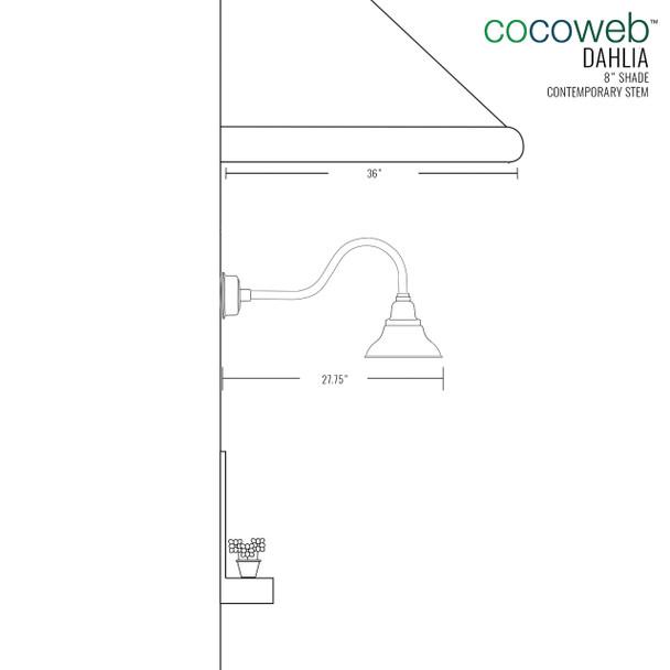 "8"" Dahlia LED Barn Light with Contemporary Arm in Jade"