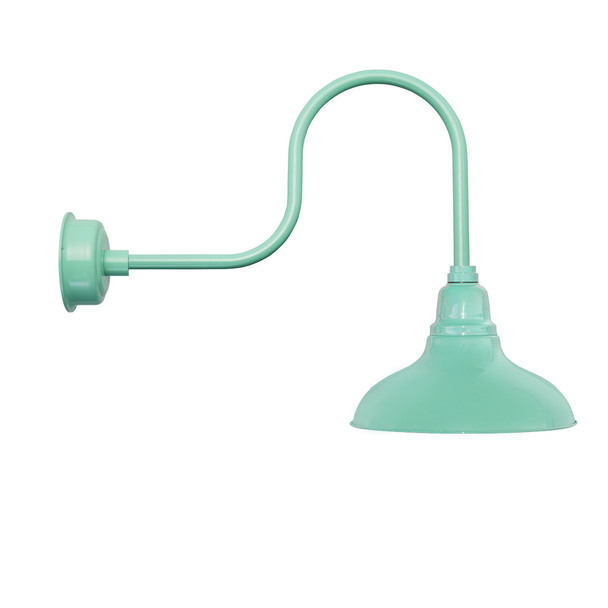 "8"" Dahlia LED Barn Light with Industrial Arm in Jade"
