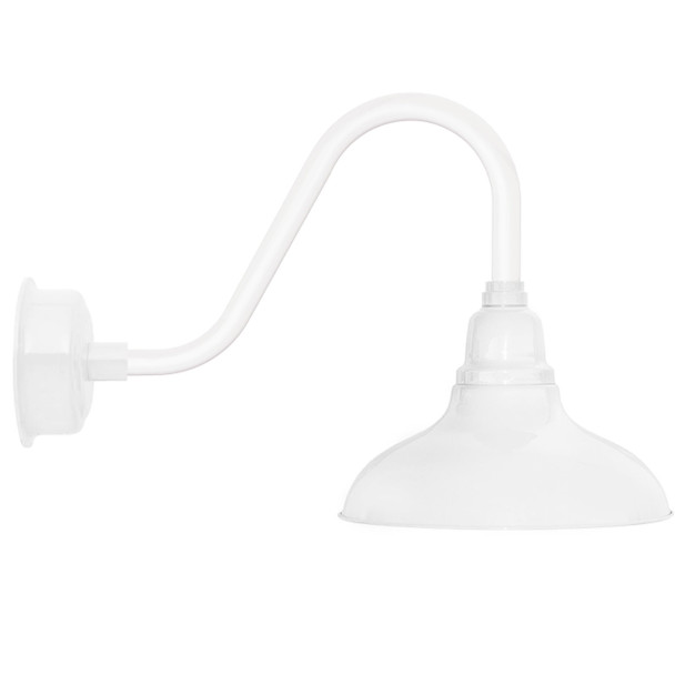 """8"""" Dahlia LED Barn Light with Rustic Arm in White"""