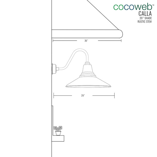 "Dimensions for 20"" Calla LED Barn Light with Rustic Arm"