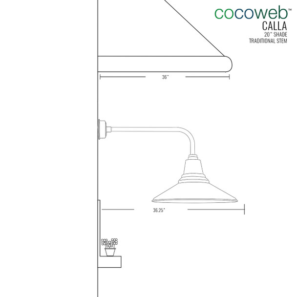 "Dimensions for 20"" Calla LED Barn Light with Traditional Arm"