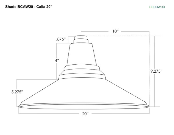 "20"" Calla LED Barn Light Shade Dimensions"