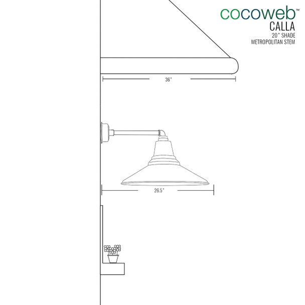 """Dimensions for 20"""" Calla LED Barn Light with Metropolitan Arm"""