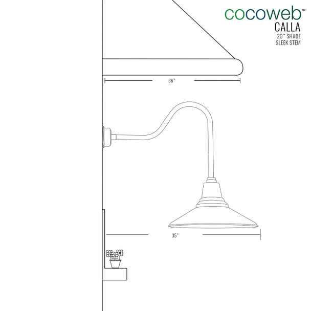 "Dimensions for 20"" Calla LED Barn Light with Sleek Arm"