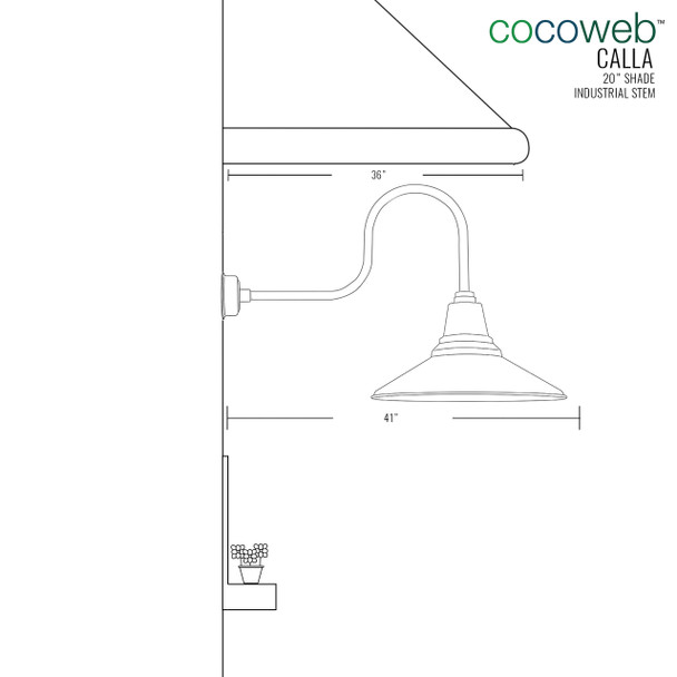 """Dimensions for 20"""" Calla LED Barn Light with Industrial Arm"""