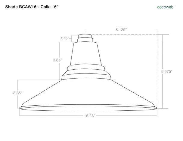 "Shade Dimensions  for 16"" Calla LED Barn Light with Victorian Arm"