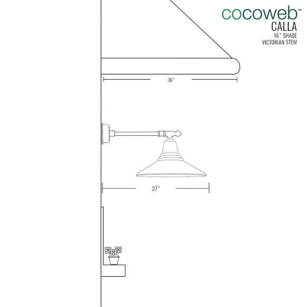 "Dimensions for 16"" Calla LED Barn Light with Victorian Arm"