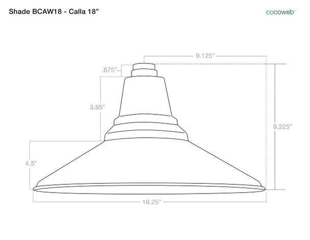 """Shade Dimensions for 18"""" Calla LED Barn Light with Victorian Arm - Black"""