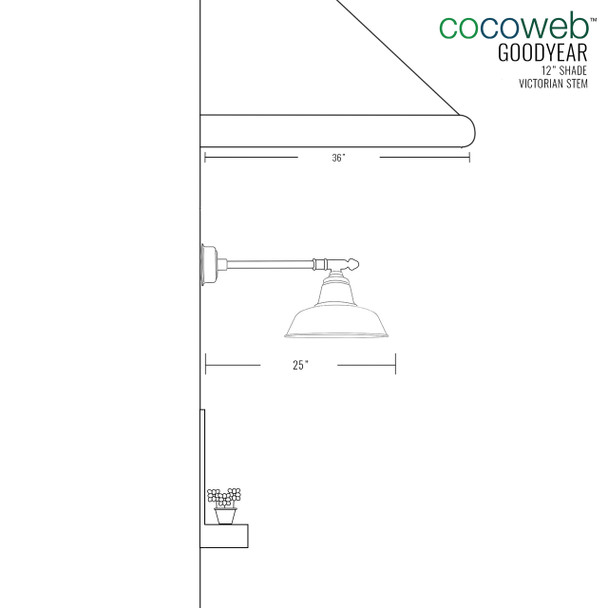 """Dimensions for 12"""" Goodyear LED Barn Light with Victorian Arm - Black"""