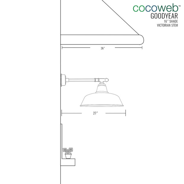 "16"" Goodyear LED Barn Light with Victorian Arm - Black"