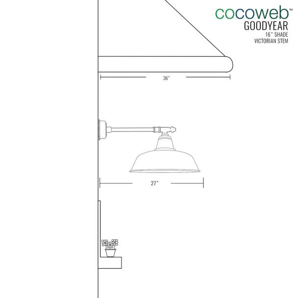 "16"" Goodyear LED Barn Light with Victorian Arm - Mahogany Bronze"
