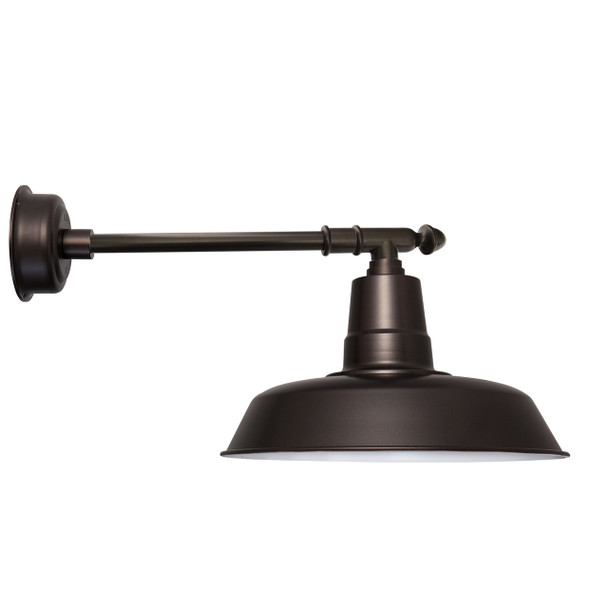 "16"" Oldage LED Barn Light with Victorian Arm - Mahogany Bronze"