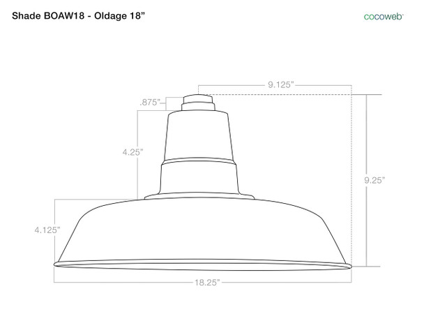 "18"" Oldage shade dimensions"