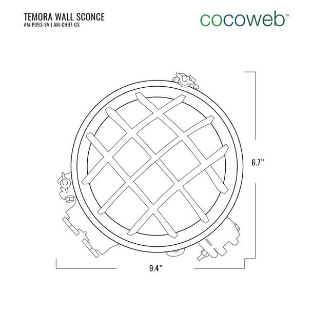 Temora Bulkhead Wall Sconce in Gold (AM-CH97-GS) dimensions