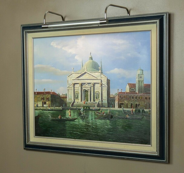 Example: Tru-Slim LED Picture Light in Satin Nickel  Mounted on Painting